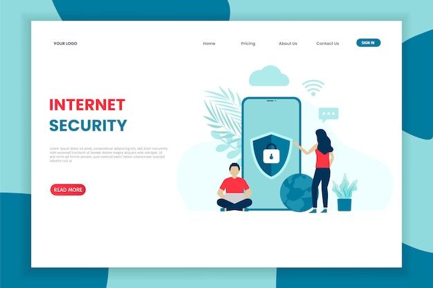 Flat modern design internet security landing page template