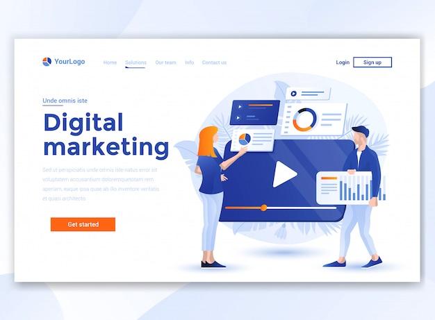 ウェブサイトテンプレート-デジタルマーケティングのフラットなモダンなデザイン