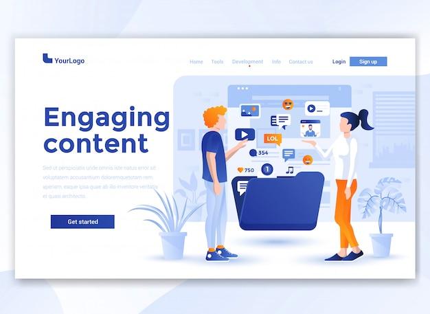 ウェブサイトテンプレートのフラットでモダンなデザイン-魅力的なコンテンツ