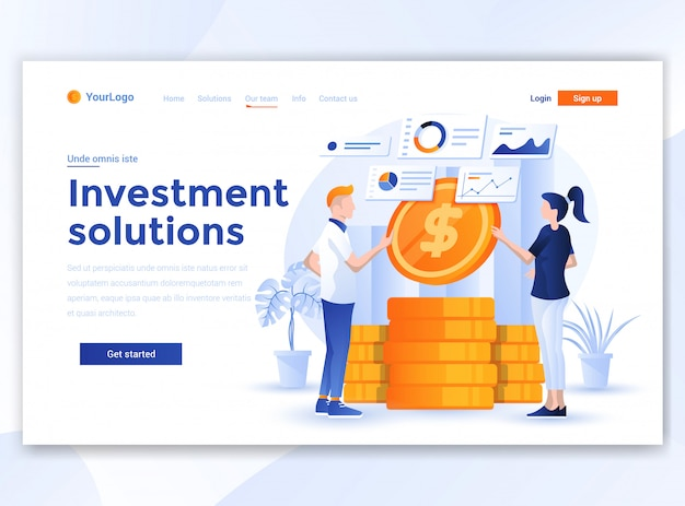 ウェブサイトテンプレートのフラットモダンデザイン-投資ソリューション