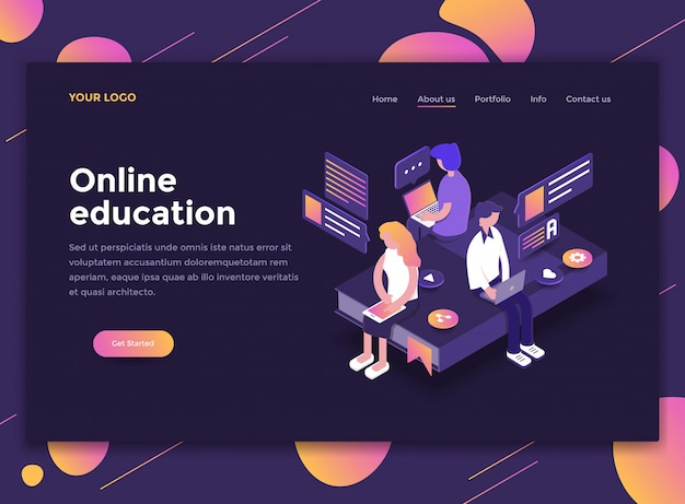 Flat modern design of website template