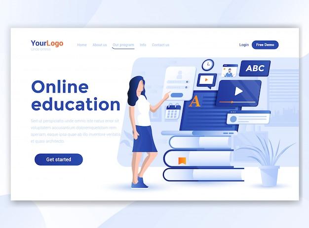 Flat modern design of wesite template - online education
