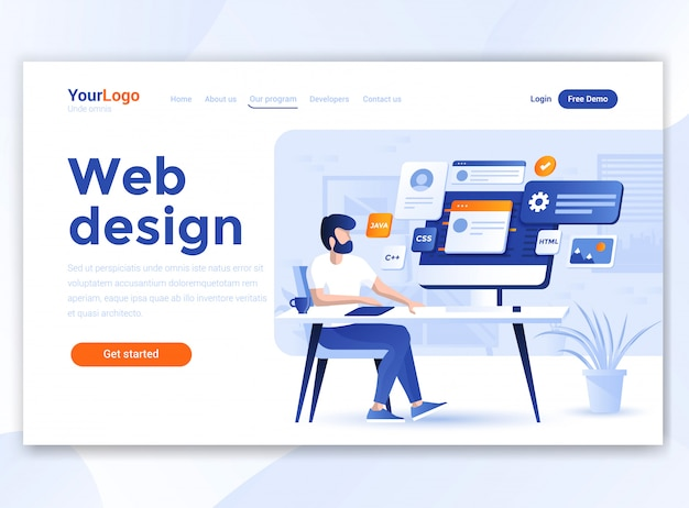 Flat modern design of wesite template - web design