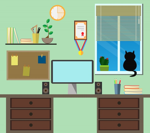 Flat modern design workplace in room.