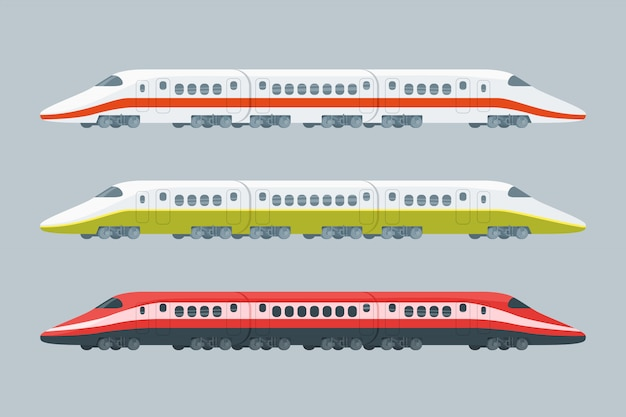 Flat modern high-speed trains collection