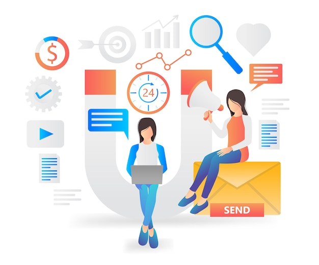 Flat modern illustration about email marketing strategy