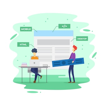 Flat modern information technology building vector illustration
