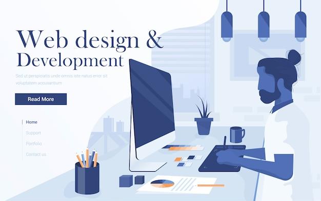 Плоский современный посадочный веб-дизайн и разработка