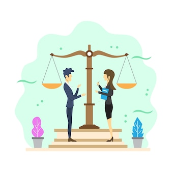 Flat modern legal consulting vector illustration