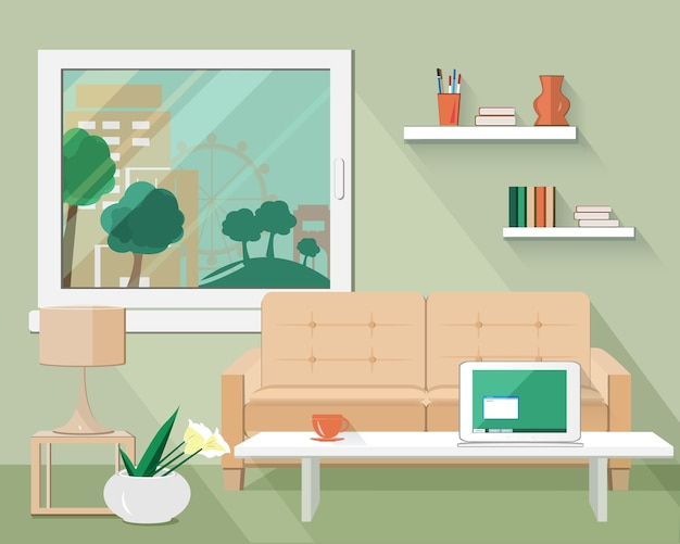 Flat modern living room set with sofa, table, lamp, flowerpot and window.