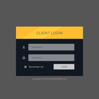 フラット現代のログインフォームuiテンプレートのデザイン