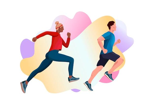 Плоские современные векторные иллюстрации бегущих мужчин и женщин в спорте.