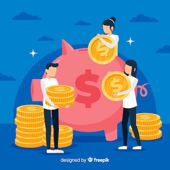 Flat money saving concept background
