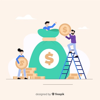 Flat money saving concept background