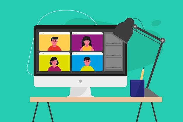 화면에 온라인 회의와 평면 모니터 벡터