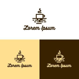 Flat monoline coffee logo