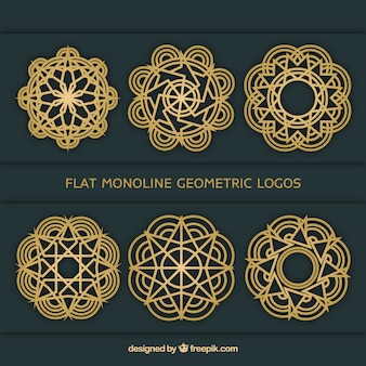 Flat monoline geometric logos collection