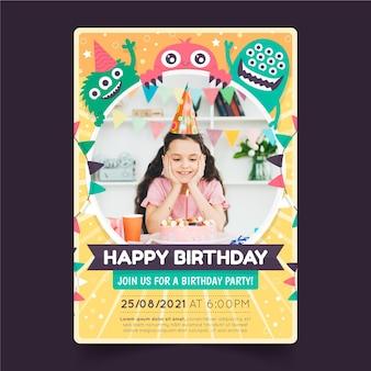 写真付きのフラット モンスターの誕生日の招待状のテンプレート