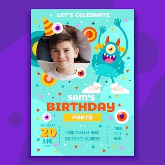 Modello di invito di compleanno mostro piatto con foto