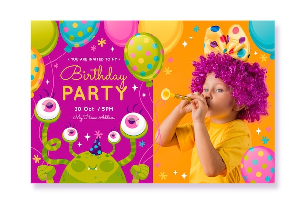 Flat monster birthday invitation template with photo