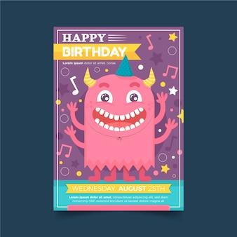 Flat monster birthday invitation template