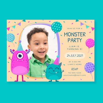 写真付きフラットモンスターの誕生日の招待状
