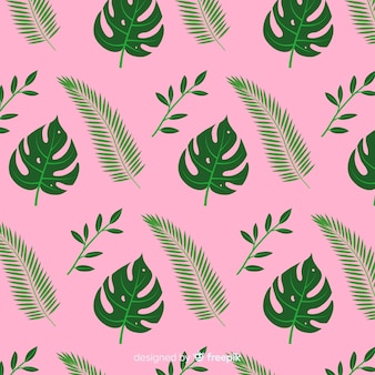 Flat monstera leaves background