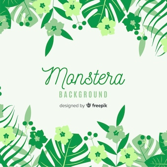 Flat monstera leaves and flowers background