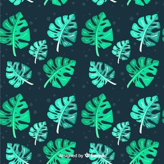 Flat monstera leaves pattern