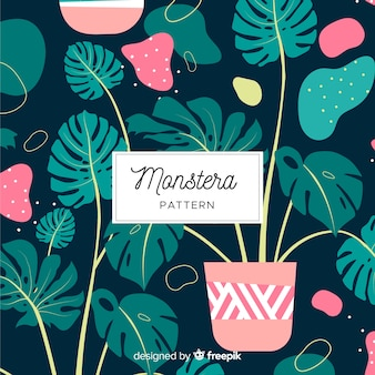 Flat monstera leaves pattern
