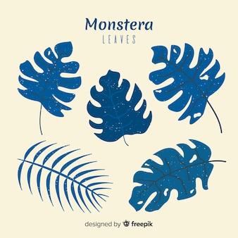 Flat monstera leaves set