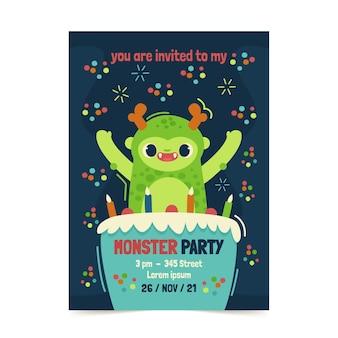 Шаблон приглашения на день рождения плоских монстров