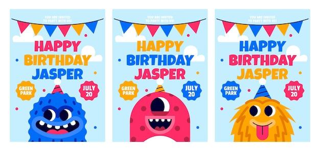 Flat monsters birthday invitation