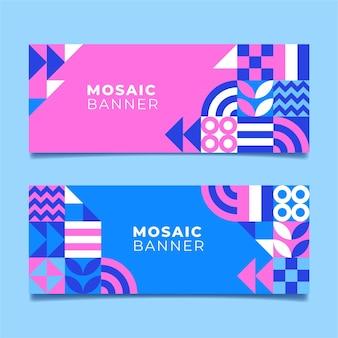Набор плоских мозаичных баннеров