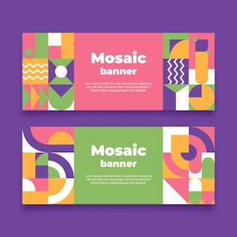 Flat mosaic banners template