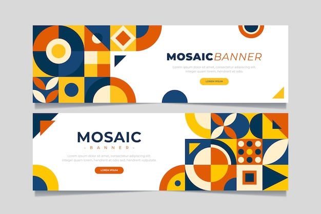 Flat mosaic banners