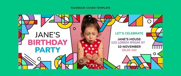 Обложка facebook с плоской мозаикой на день рождения