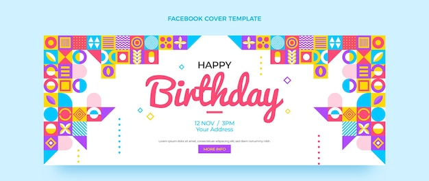 Flat mosaic birthday facebook cover