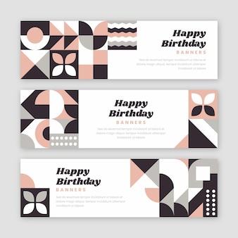 Bandiere orizzontali di compleanno di mosaico piatto