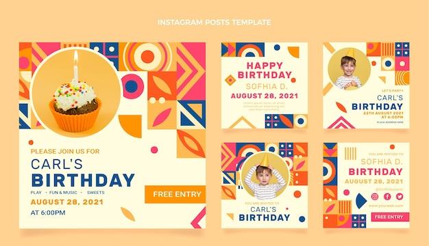평면 모자이크 생일 인스타그램 게시물