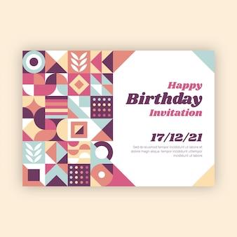 평면 모자이크 생일 초대장 템플릿