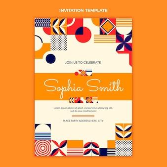 Flat mosaic birthday invitation