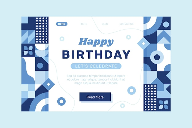 Modello di pagina di destinazione di compleanno a mosaico piatto