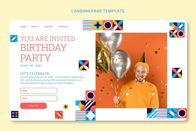 Целевая страница дня рождения с плоской мозаикой