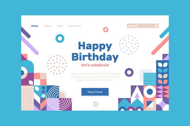 Pagina di destinazione di compleanno a mosaico piatto