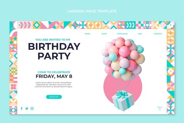 Flat mosaic birthday landing page