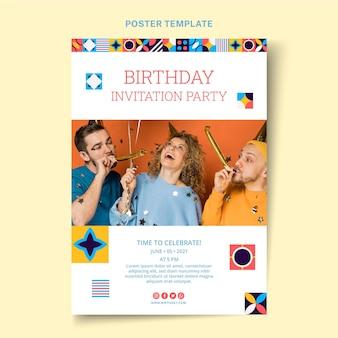 Flat mosaic birthday poster