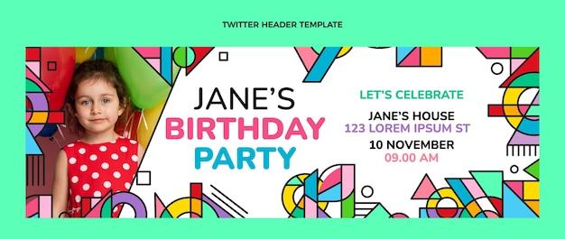 Плоская мозаика на день рождения в твиттере