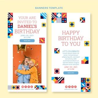 Flat mosaic birthdayvertical banners