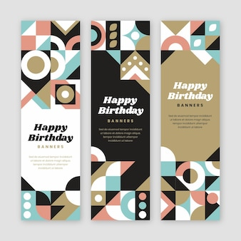 Banner verticale compleanno piatto mosaico